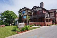 Fraternity e case dell'associazione studentesca femminile all'università di Stato di Iowa Immagine Stock