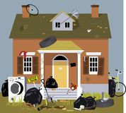 Fraternity house unkept and dirty. Exterior of a house, covered with garbage, clutter and debris, EPS 8 vector illustration stock illustration