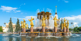 Fraternity of Peoples Fountain at VDNKh Stock Photo
