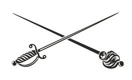 Fraternity. Two crossed stabbing weapons, sword and saber vector illustration