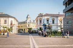 Fratii Buzesti street in Craiova, Romania. Craiova, Romania - September 16, 2016: People are walking on Fratii Buzesti street in Craiova, Romania Stock Photo