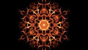 Frattale arancio esagonale con moto del tunnel, video astratto nella mandala simmetrica arancio, rossa e gialla, piacevole di for stock footage