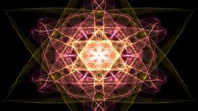Frattale ardente d'ardore in rosso ed in arancio, stile di fata morgana, forma della stella su fondo nero, illusione delle onde d royalty illustrazione gratis