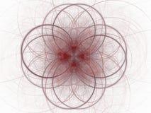 Frattale astratto con il modello floreale rosso delle curve Fotografia Stock