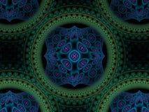 Frattale blu e verde circolare astratto di porpora, illustrazione vettoriale
