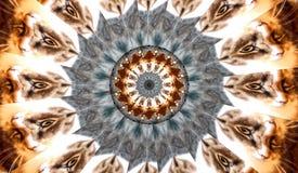 Frattale del caleidoscopio dell'insegna degli occhi di gatto illustrazione vettoriale