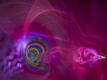 Frattale digitale astratto, copertura creativa di incandescenza della decorazione dinamica di scienza di effetto, stile futuristi illustrazione vettoriale