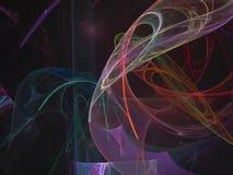 Frattale digitale astratto di caos di moto, progettazione generata dinamica della decorazione di energia magica di fantasia bella illustrazione vettoriale