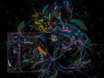 frattale digitale, progettazione moderna di forma di progettazione creativa festiva astratta di caos, partito, carta di mistero d illustrazione di stock