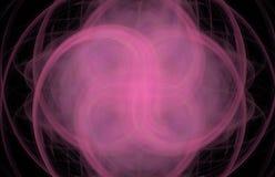 Frattale trasversale rosa dell'estratto di turbinio su fondo nero Struttura di frattale di fantasia Rotazione rosso-cupo di Digit illustrazione di stock