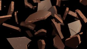 Fratura do chocolate de leite, chocolate líquido 3D ilustração royalty free