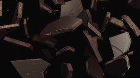 Fratura escura do chocolate, chocolate líquido 3D ilustração royalty free