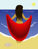 Frau. Vector image of the girl on the beach Stock Image