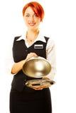 Frau als Gaststättekellnerin Stockfoto