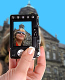 Frau in Amsterdam Stockbild