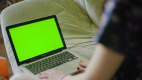 Frau arbeitet an Computergrün-Schirmnotizbuch zu Hause stock video