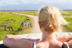 Frau auf afrikanischer Safari der wild lebenden Tiere stockbilder