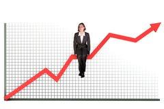 Frau auf Balkendiagramm Stockfoto