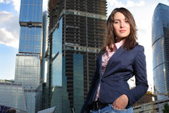 Frau auf Baustelle Lizenzfreies Stockfoto