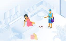 Frau auf Bett-Mann-Wartezeit an der modernen Raum-Illustration stock abbildung
