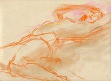 Frau auf dem Bett - Zeichnung Stockfoto