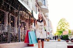 Frau auf dem Einkaufen Stockbild