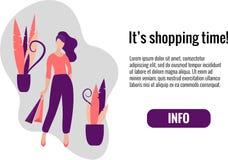 Frau auf dem Einkaufen mit Taschenkunst Flache Illustration des Verkaufs- und Einkaufsvektors vektor abbildung