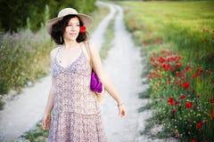 Frau auf dem Gebiet Stockfoto