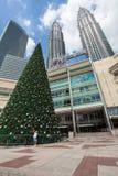 Frau auf dem Hintergrund des Weihnachtsbaums Stockbild
