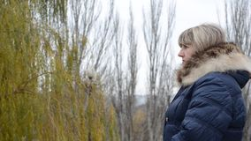 Frau auf dem Hintergrund von Herbstbäumen stock footage