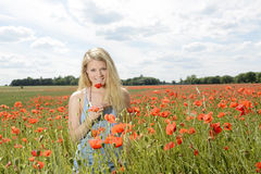 Frau auf dem Mohnblumegebiet Lizenzfreies Stockfoto