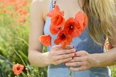 Frau auf dem Mohnblumegebiet Lizenzfreie Stockfotografie