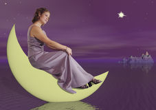 Frau auf dem Mond Stockfoto