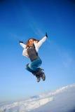 Frau auf dem Schneefeld Lizenzfreies Stockbild