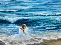 Frau auf dem Strand stock abbildung