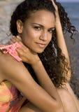 Frau auf dem Strand Stockfotografie