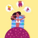 Frau auf dem Strand träumend über vollkommenen Mann Stockbilder