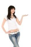 Frau auf dem weißen Hintergrund Stockfotos