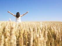 Frau auf dem Weizen-Gebiet mit den Armen ausgestreckt Stockfotografie