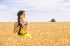 Frau auf dem Weizengebiet stockbild