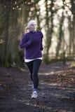 Frau auf dem Winter laufen gelassen durch Waldland Lizenzfreies Stockfoto