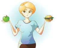 Frau auf Diät trifft eine Wahl stock abbildung