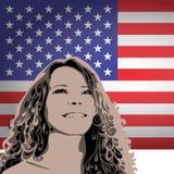 Frau auf einem Hintergrund der USA-Flagge Stockfotos
