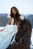 Frau auf einem Pferd Stockbilder