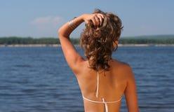 Frau auf einem Strand Stockfoto