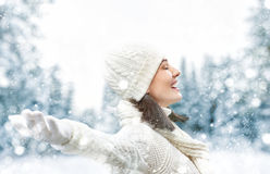 Frau auf einem Winterweg lizenzfreie stockfotografie