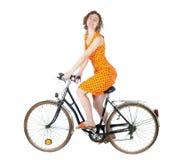Frau auf Fahrrad Stockfoto