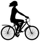 Frau auf Fahrrad Stockbilder
