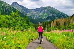 Frau auf Fahrrad genießen schöne Tatras-Natur, Slowakei lizenzfreies stockbild