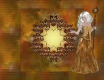 Frau auf Fall-Farben-Glas-Hintergrund Lizenzfreie Stockfotos